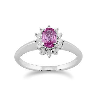 Gemondo 9kt hvidguld 0,52 ct Pink Sapphire & Diamond Oval klynge Ring