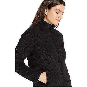 Essentials Frauen's Polar Fleece gefüttert Sherpa Full-Zip Jacke, schwarz, X-large
