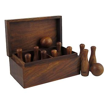XGF Games Bowling Set in Wood 2 Pins and 10 Balls in Box