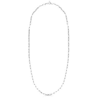 925 Sterling Silver Polished Paperclip Chain Necklace With Pear Shaped Lobster Clasp Jewelry Gifts for Women - Length: 1