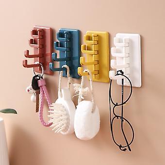 Creative Rotating Adhesive Hook Wall Hole-Free Hanger Key Bag Clothes Hook Bathroom Kitchen Key Bag Clothes Hook