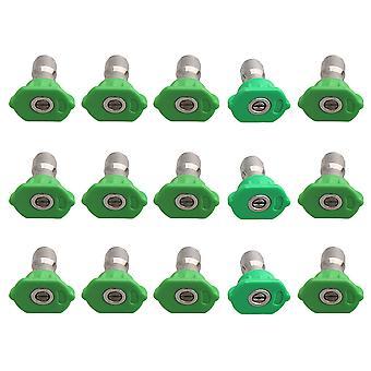 15pcs Acier inoxydable 25 degrés Spray Nozzle Tip 1.0 1.2 1.4 1.6mm Vert