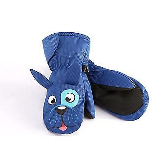 L lã azul pendurado luvas de pescoço para crianças x4310