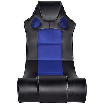 vidaXL Music Chair Leatherette nera e blu