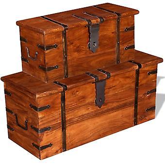 vidaXL Conjunto de cofre de almacenamiento de dos piezas de madera maciza