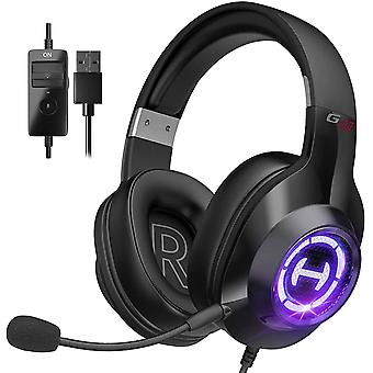 Gaming Headset, Wired Headset with Stereo Surround Sound with Microphone and Volume Control for PCs Tablets Laptops Phones,Black