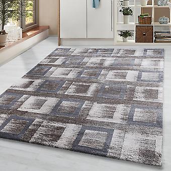 Korte stapel woonkamer tapijt ontwerper vintage tapijt vierkanten beige crème grijs