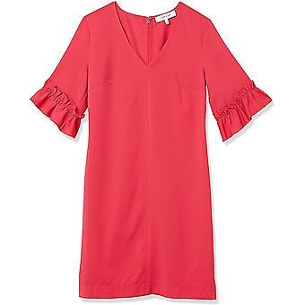 Brand - Lark & Ro Women's Florence Ruffle Half Sleeve V-Neck Shift Dress