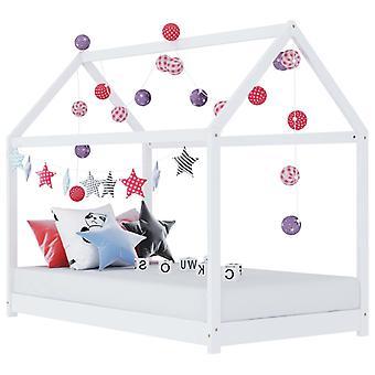 vidaXL الأطفال إطار السرير الأبيض الصنوبر الخشب الصلب 90 × 200 سم