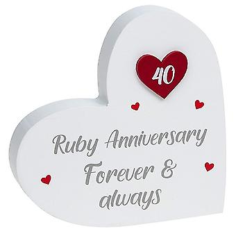 Joe Davies Provence Ruby Anniversary Standing Heart Plaque 200912