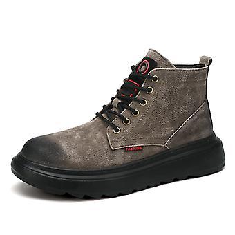 Martin Botas Zapatos de cuero de estilo británico high-top para hombre 1G88252 Gris