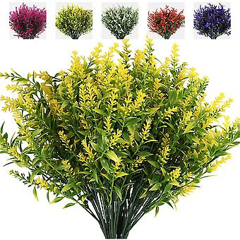 8 Bouquets Of Artificial Flowers, Artificial Lavender Anti-ultraviolet Flowers,outdoor Ornaments (rose Red)