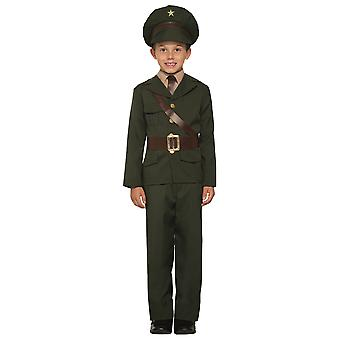 Army Officer Military Soldier WW2 Wartime 1940s Book Week Child Boys Costume