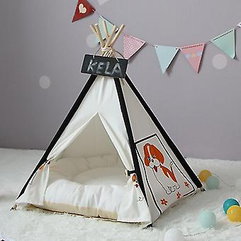 Pet Tent Removable And Washable Wooden Cat Kennel with Cushion, Specification: Large