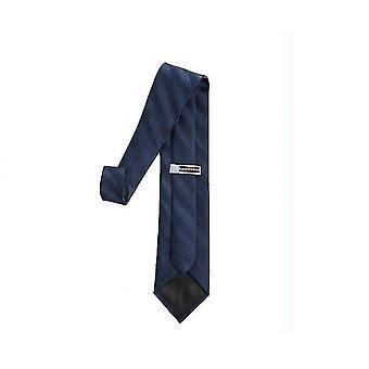 Mens Classic Skinny Woven Thin Necktie(Dark Blue)