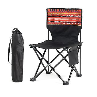 Camping Stool Portable Folding Stool for Outdoor Beach Hiking Fishing(60x34.5x34.5cm)(Black)