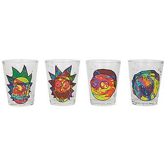 Rick and Morty Colorful Faces Set di vetro shot da 4 confezioni