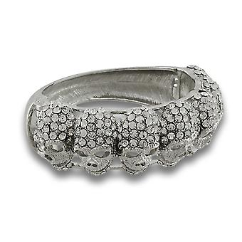 Schitterende strass meerdere schedel scharnierende Bangle Bracelet