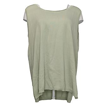 WynneLayers Women's Sweater Plus Side Ribbed Knit Tank Green 733666
