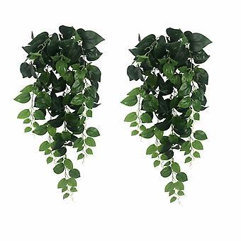 Piante artificiali, fiori finti, piante artificiali, ravanello verde a sette punte Rattan Landscaping Hanging Green Plants (rattan Rad verde a sette punte
