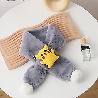 Children Winter Thickened Warm Pikachu Imitation Rex Rabbit Fur Plush Bib For Men And Women Babies