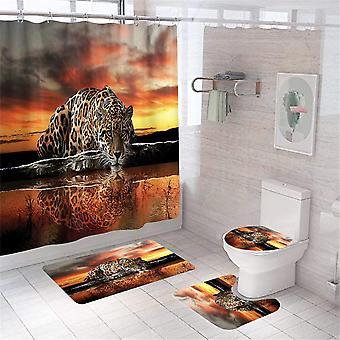 4pcs Bathroom Decor Set Bath Rug Leopard Pattern