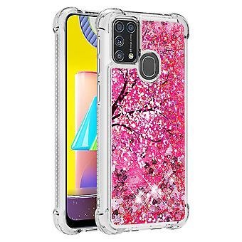 Case For Samsung Galaxy M31 Glitter Liquid Cute Clear Silicone Tpu Shockproof Cover - Sakura