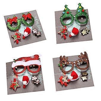 Kinderen Kerst Haarspeld Santa Bril Frame Cartoon Gift Box Set