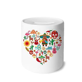 Sombrero Suger Mexiko Flamingo Print Keramik Sparschwein
