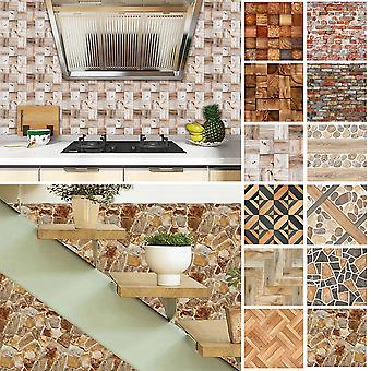 20x Mosaic Wood Grain Tile Floor Wall Stickers Diy Self Adhesive Decor