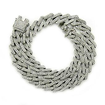 Men And Women Exaggerated Necklace Diamond Cuban Chain,16inch,gold/white Diamonds
