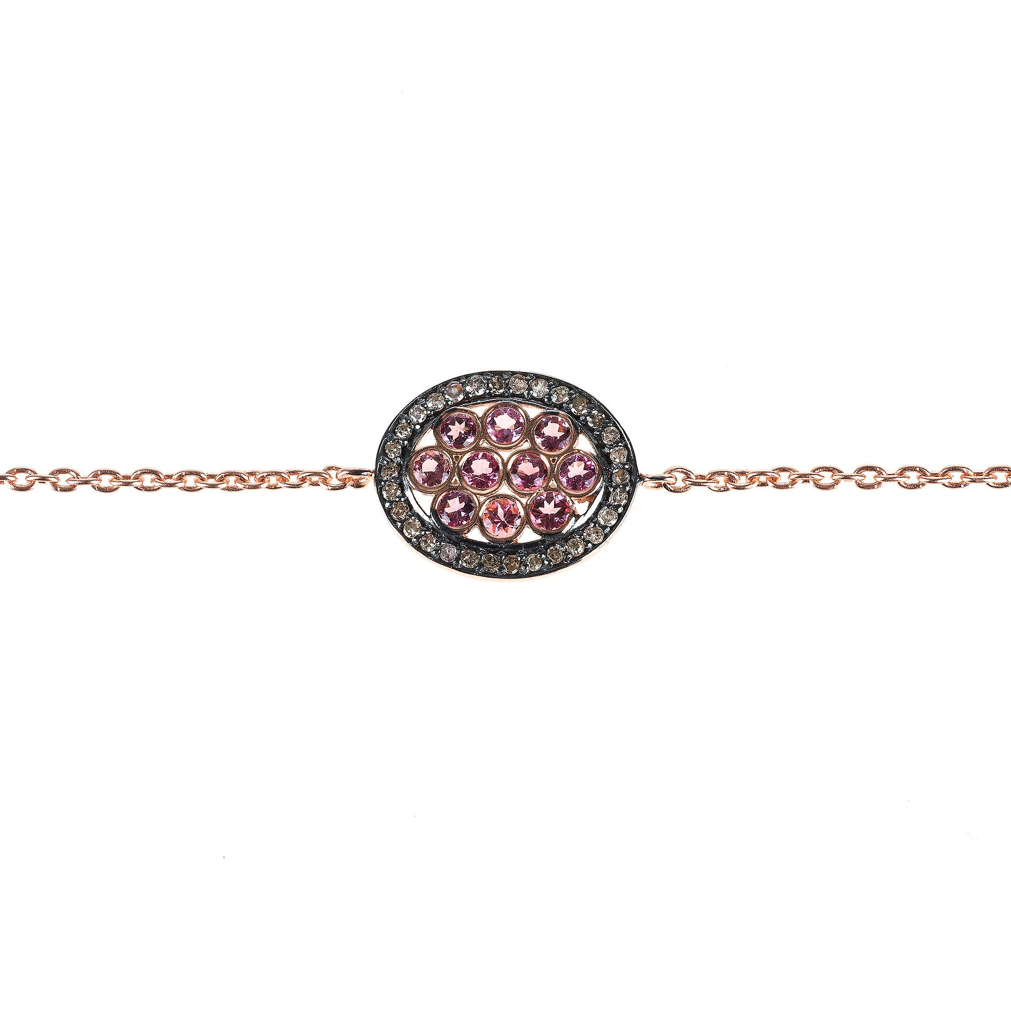 Latelita Bracelet 925 Sterling Silver Pink Diamond Oval Tourmaline Rose Gold