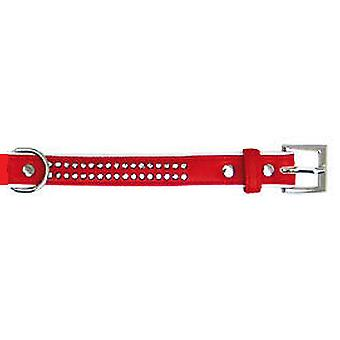 Freedog Shiny leatherette necklace for your pet Red