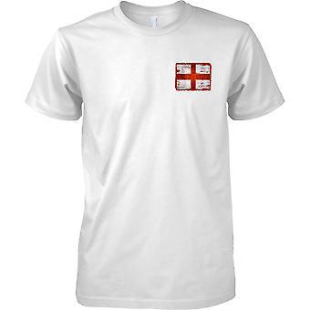 St Georges Cross England Grunge Effekt Flag - Mens Brust entwerfen T-Shirt