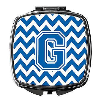 Carolines skatter CJ1056-GSCM bokstaven G Chevron blå og hvite kompakt speil