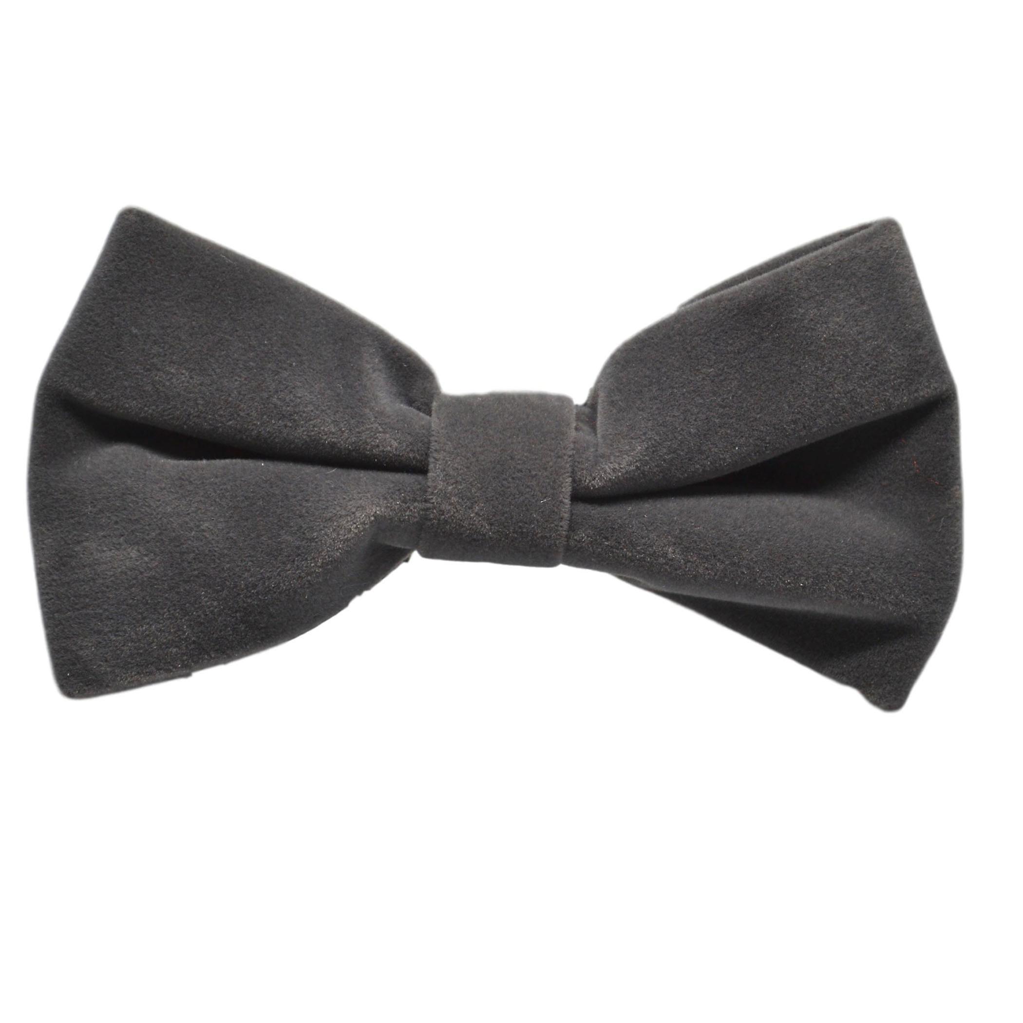Dark Silver Grey Velvet Bow Tie & Pocket Square Set