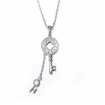 Nyckel hänge prydd med vita Swarovski kristaller och Rhodium Plate