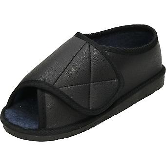 JWF unisexe Extra Wide Fit chaud doublé Open Toe chaussons noir chaussures