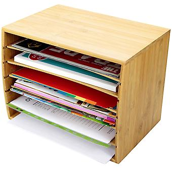 Woodquail Bamboo Desktop Literature File Sorter A4 Document Organiser Storage