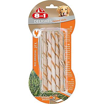 8in1 Delights Dog Treats Twist Chicken Sticks, 10-Piece