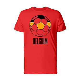 Cool Football Soccer Ball Belgium Flag Men's Red T-shirt