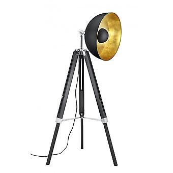 Trio iluminação Liège autêntico preto Matt Natural lâmpada de assoalho madeira