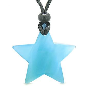 Amulett magiska Super Star positiva krafter Sky Blue Cats Eye Crystal Lucky Charm hängande halsband