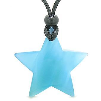 Amulett Superstar Positive Zauberkräfte himmelblau Katzen Auge Kristall Glücksbringer Anhänger Halskette