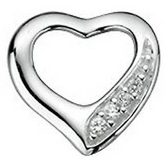Begin Cubic Zirconia uitknippen van hart Pave hanger - zilver/wissen