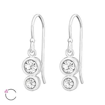 Double Round Crystal From Swarovski® - 925 Sterling Silver Earrings - W38361x