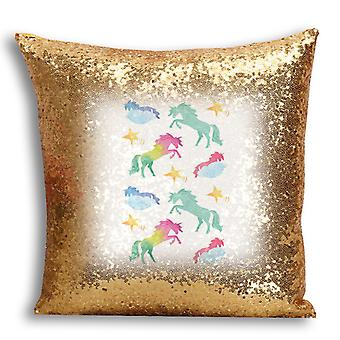 i-Tronixs - Unicorn Printed Design Gold Sequin Cushion / Pillow Cover for Home Decor - 7