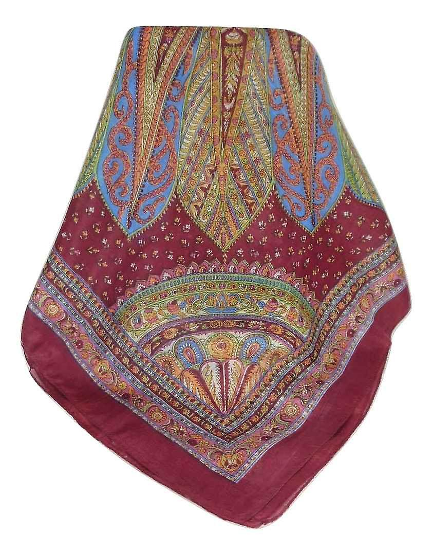 Mulberry Silk Traditional Square Scarf Zilli Carnation by Pashmina & Silk