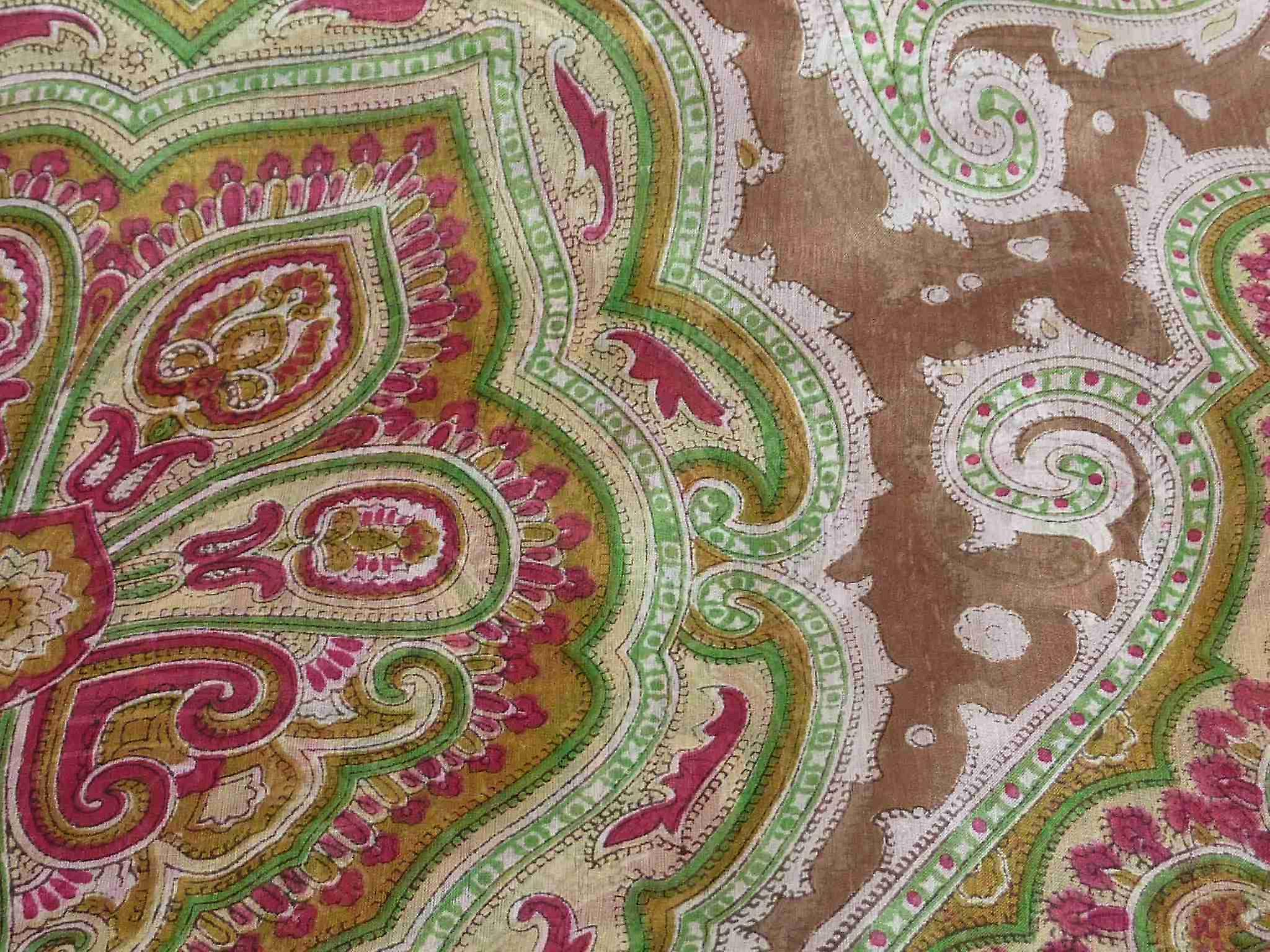 Mulberry Silk Traditional Square Scarf Aylin Caramel & Green by Pashmina & Silk