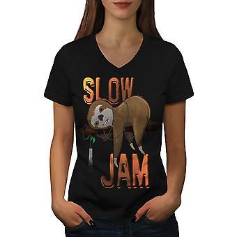 Animal Music Jam Women BlackV-Neck T-shirt   Wellcoda